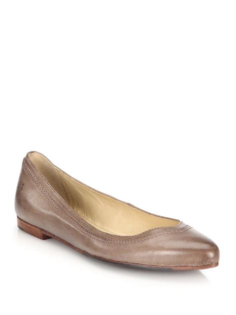 frye flat shoes frye olive leather point toe flats in brown lyst