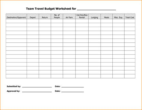 travel budget template travel budget worksheet wiildcreative
