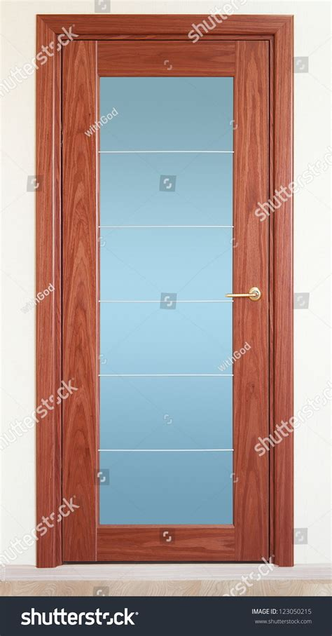 A Brown Wooden Door With A Vertical Glass Insert Stock Wood Doors With Glass Inserts