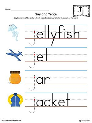 color starts with j say and trace letter j beginning sound words worksheet