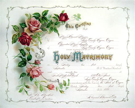 A Marriage Free Vintage Wedding Certificate Or Marriage By Moonlightingandco