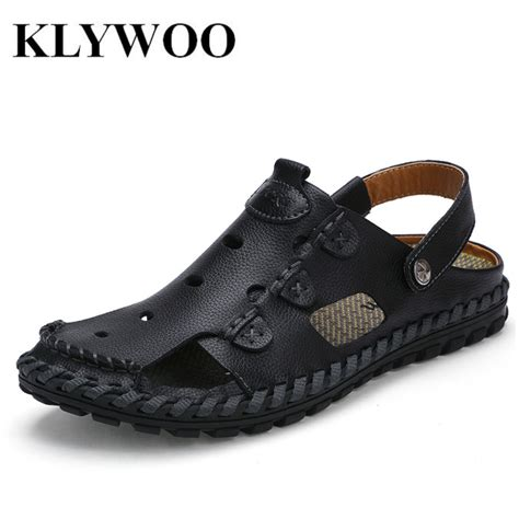 sandals shoes mens klywoo 2017 summer new sandals genuine leather fashion