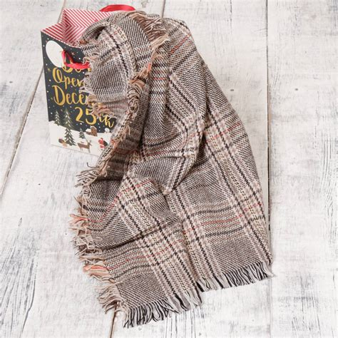 Bab255 White by Beige And Grey Unisex Check Scarf With Free Gift Bag By