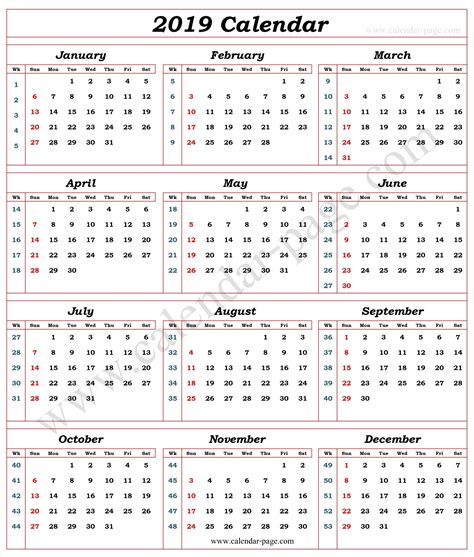 2019 Calendar With Week Numbers Printable