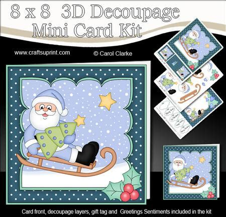 3d Decoupage Picture Kits - 8x8 sledging santa mini kit 3d decoupage cup581527