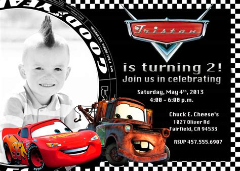 Cars Birthday Card Template by Birthday Invitation Card Template Cars