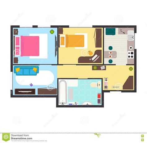 top view floor plan architectural plan with furniture in top view cartoon