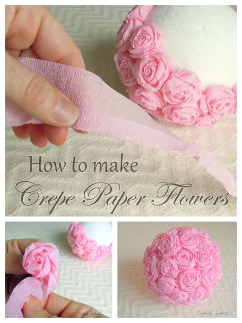 How To Make Flower Made Of Crepe Paper - crepe paper flowers craft idea