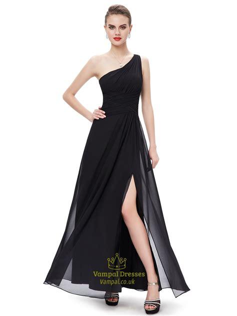 floor length dress how should be black chiffon one shoulder floor length bridesmaid dresses