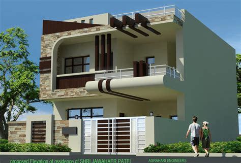 duplex house front elevation designs collection with plans