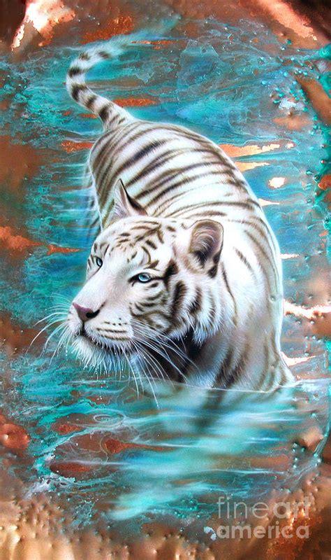 Owl Print Duvet Cover Copper White Tiger Painting By Sandi Baker