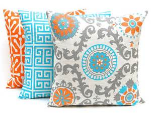 bedding decorative pillows orange throw pillow covers three orange and turquoise