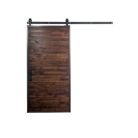 Modern Sliding Barn Door Hardware Rustica Hardware 42 In X 84 In Mountain Modern Stain Glaze Clear Wood Barn Door With