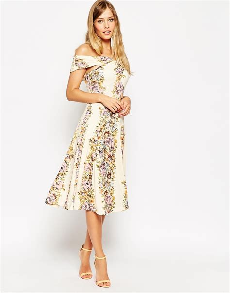 lyst asos bardot wrap midi dress in vintage floral in