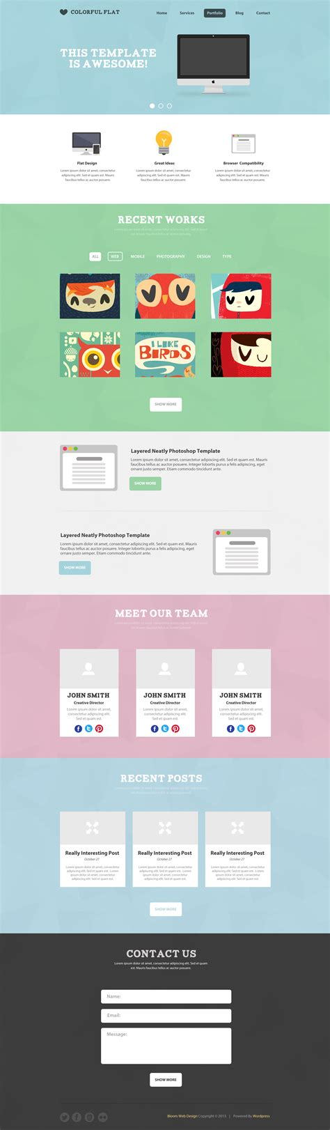 free flat one page website psd template free psd