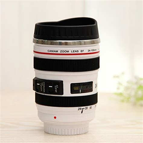Mug Lensa White Canon Lens Mug Bahan Stainless Steel Ya miroo slr lens travel coffee mug 24 105 stainless steel water cup 12 oz white the gift