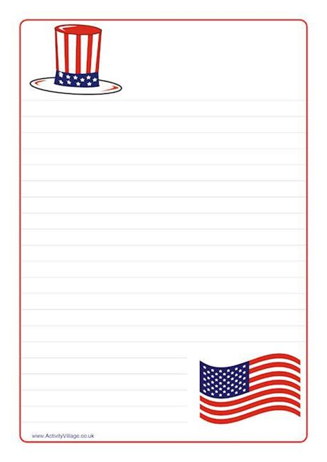 printable flag stationery 4th of july printable stationery fourth of july