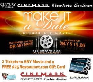 Cinemark Gift Card Deal - date night dinner a movie for 15