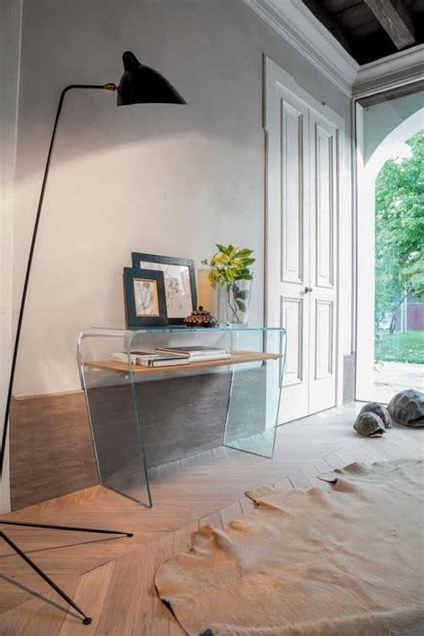 consolle in vetro per ingresso consolle in vetro curvo ripiano in legno per ingresso