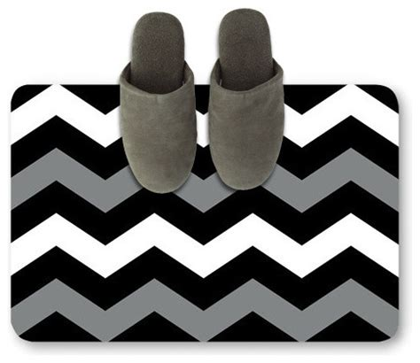 Black And White Doormat Black White Wavy Doormat Modern Bath Mats Hong