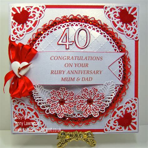 Ruby Anniversary Wedding by Cardsarus Ruby Wedding Anniversary Card And Bag