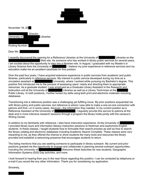 Letter Of Recommendation For Librarian Information Literacy Open Cover Letters
