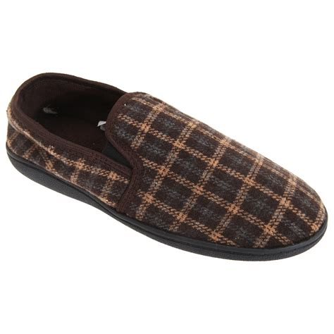 Tartan Slippers mens tartan design fleece lined slippers ebay