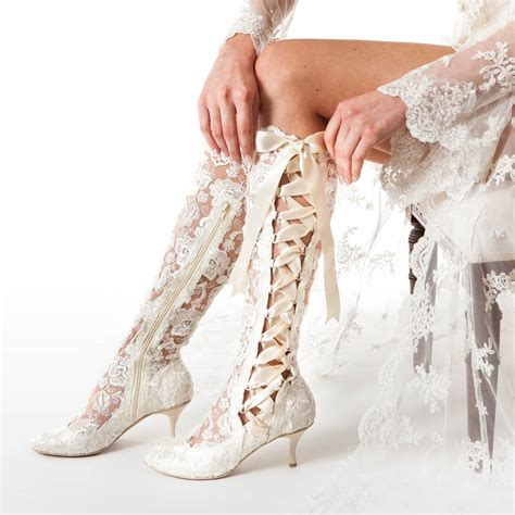 Wedding Boots by Lace Wedding Boots And Bridal Shoes House Of Elliot