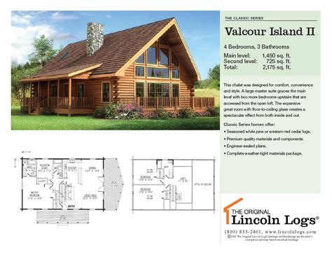 lincoln log homes floor plans log home floorplan valcour island ii the original