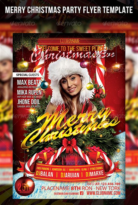 Merry Flyer Template Free Merry Christmas Party Flyer Template By Cerceicer On Deviantart