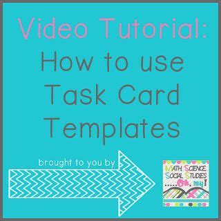 Math Task Card Templates by Math Science Social Studies Oh My How To Use