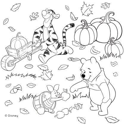 thanksgiving disney coloring pages winnie the pooh and friends fall coloring page disney family