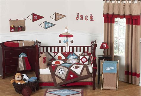 Crib Bedding Sports Theme All Sports Baby Boy Crib Bedding 9pc Nursery Set Brown Blue