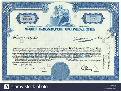 Historic Share Certificate The Lazard Fund Inc 1960 Maryland Usa Stock Photo Royalty Free Attorneys Corporation Service Stock Certificate Template