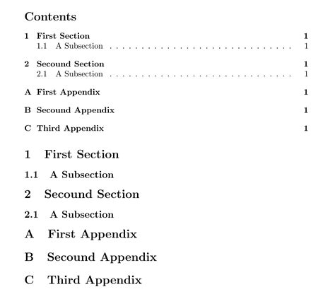 latex appendix section appendices how to have appendix a continue by appendix b