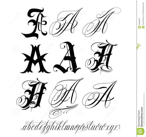 tattoo alphabet words capital letter set stock vector illustration of script
