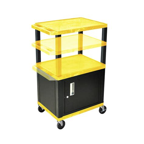 Multi Shelf Cart by Luxor Wt2642yc2 B Yellow 3 Shelf Multi Height Cart With