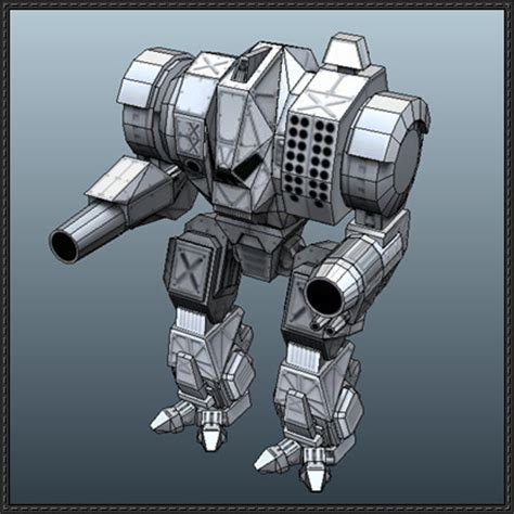 Mechwarrior Papercraft - mechwarrior grizzly free mech paper model