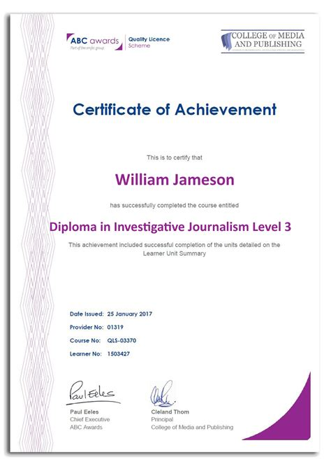 Journalism Qualifications by Accredited Investigative Journalism Course