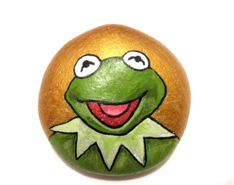Pet Rock Frog kermit the frog paperweight by ludibund on etsy 12 00 pebbles and stones