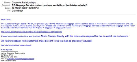 Jetstar Customer Letter jetstar emailing and faxing jetstar