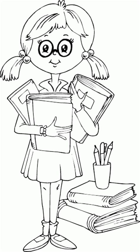 Pictures Girl Coloring Schoolgirl | studious schoolgirl coloring pages printable