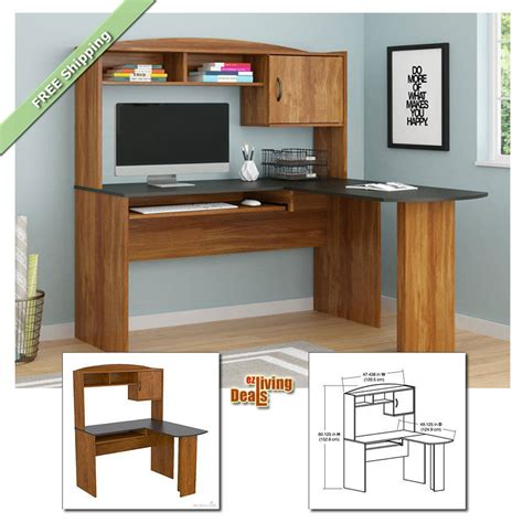 Home Desks With Hutch Home Office Desk With Hutch L Shaped Wood Corner Computer Desks Alder Black Ebay