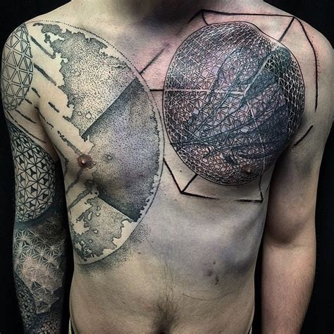 dotwork planets space tattoo on chest best tattoo ideas