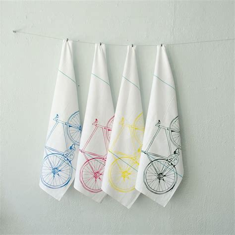 Printed Towel cmyk bicycle tea towel set four printed cotton bike