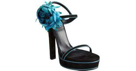 Wedges Gucci Flowers Black Wd05 lyst gucci black and aqua suede flower platform sandals in black