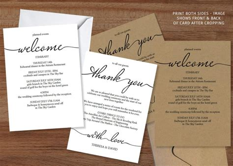 welcome card template hotel wedding weekend itinerary template template business