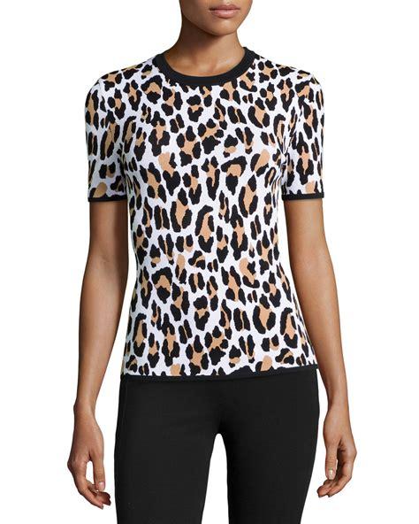 Print Knit Top michael kors leopard print sleeve knit top in black