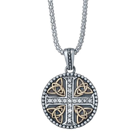 white sapphire cross necklace with 10k gold landing company