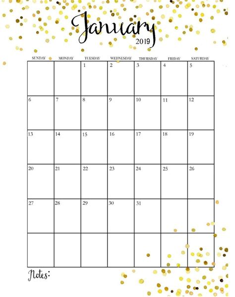 january  calendar vertical printable